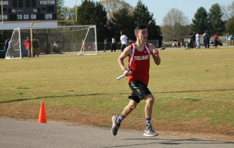 Freshman Nick Rekowski runs in the 4x800 relay.