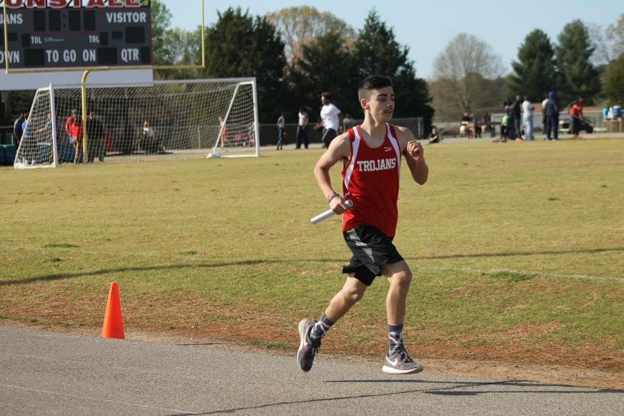 Freshman Nick Rekowski runs in the 4x800 relay.