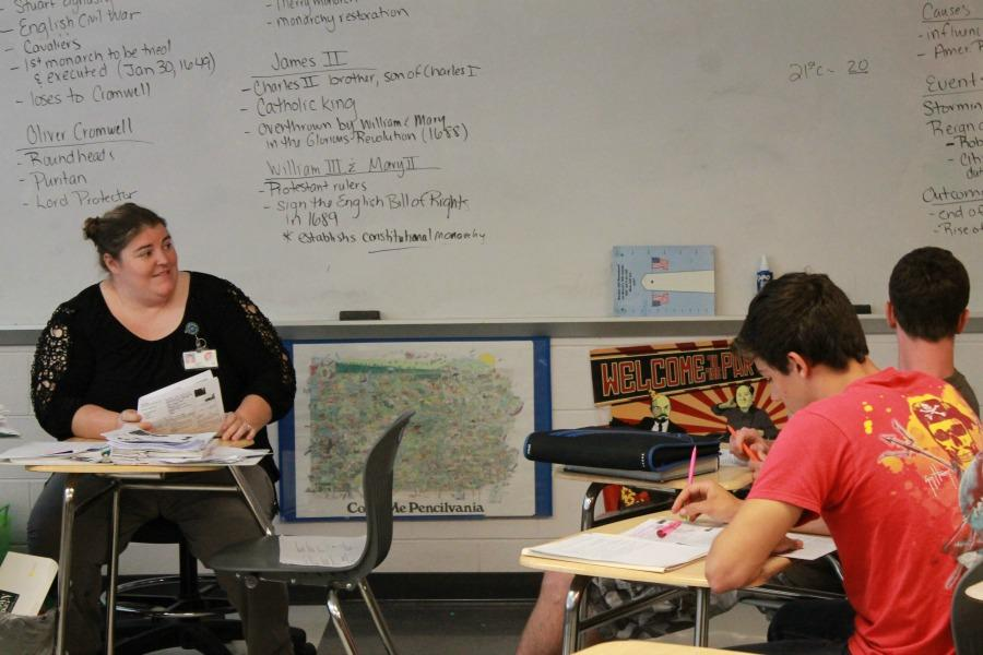 Ms. Tara Mills reviews for the upcoming SOL with her students