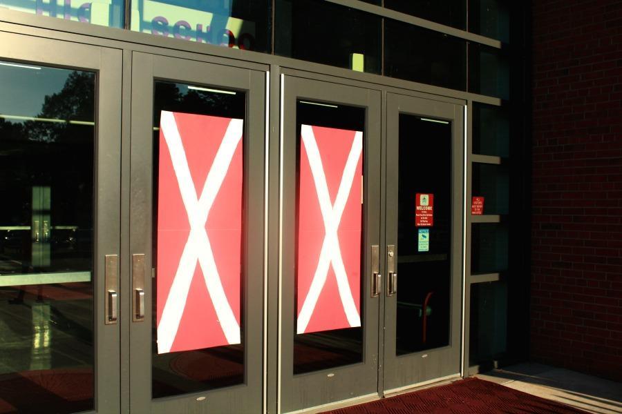 The doors to enter the school.