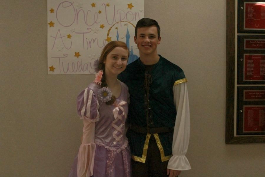 Faith Snead and Lucas Hess portray Rapunzel and Flynn Rider from Tangled.