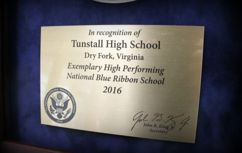 Receiving the Blue Ribbon with Trojan pride