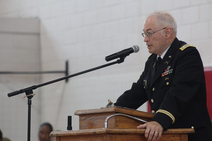 Colonel King addressed students of Tunstall.