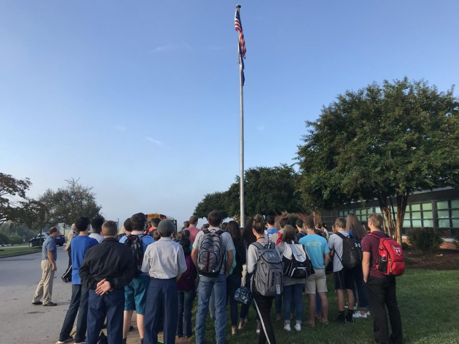 Students gathered in front of Tunstall High School for the national See You at the Pole event.
