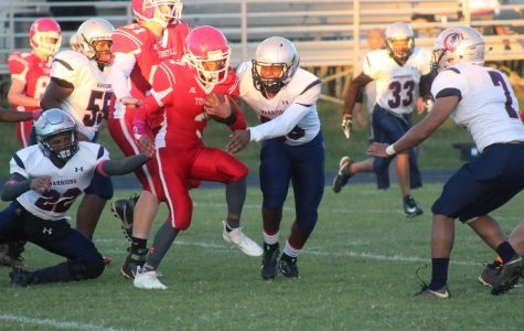 Player attempts to run for touchdown