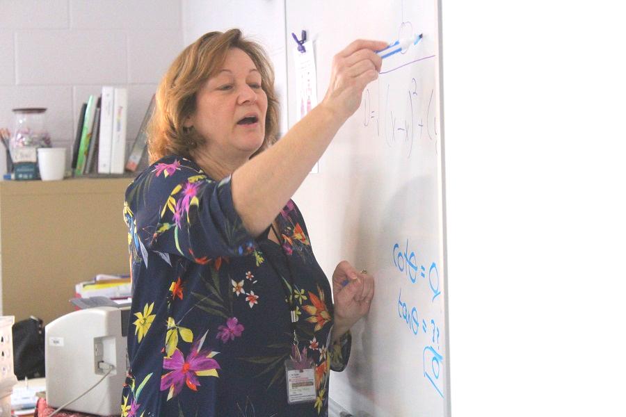 Mrs. Rosanne Lloyd teaching her Advanced Algebra Trig Class