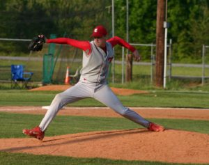 Joe Mantiply pitches at THS against Chatham.