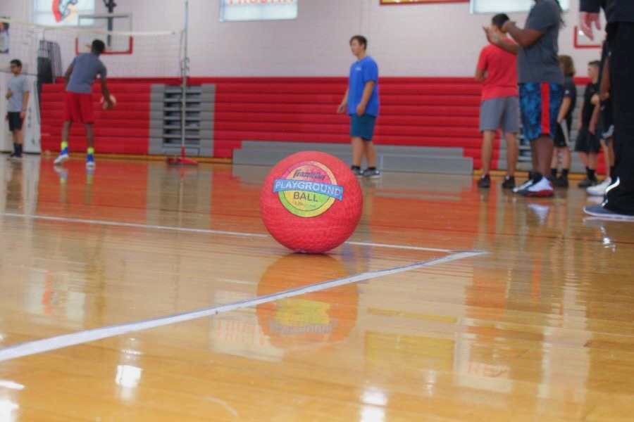 Four-Square+ball+laying+on+the+corner+of+a+Four-Square+court.