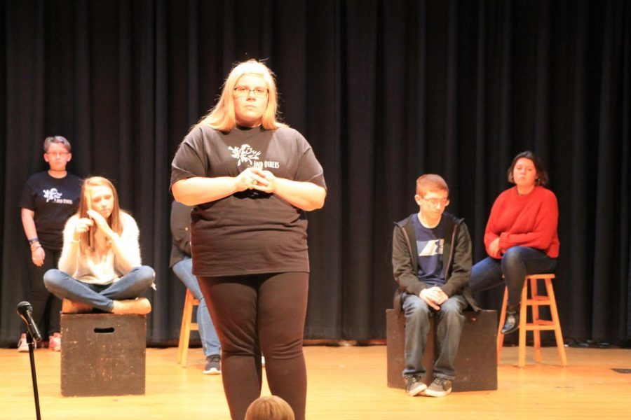 The+one+act+cast+of+the+%22...And+Others%22+play+performance.+Picture+credits+to+Mrs.Williams%2C+head+of+the+yearbook.%0A