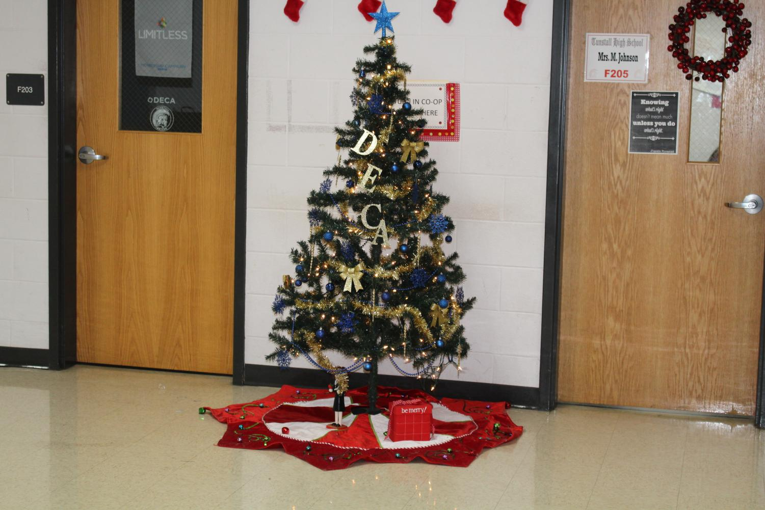 Deca christmas tree outside of the Deca office on F wing.
