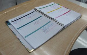 Addyson Hunsicker uses her planner to keep up with class times, work, and due dates.